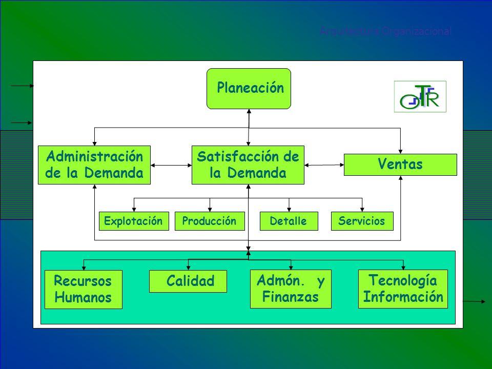 Planeación Arquitectura Organizacional Recursos Humanos Admón. y Finanzas Tecnología Información Calidad Administración de la Demanda Satisfacción de