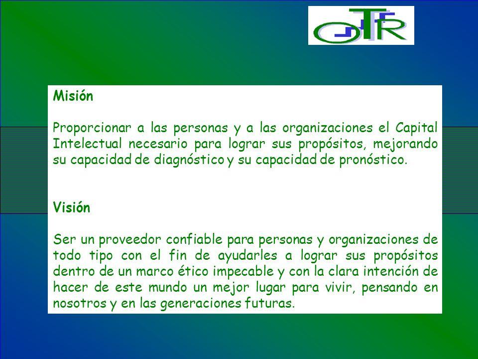 Misión Proporcionar a las personas y a las organizaciones el Capital Intelectual necesario para lograr sus propósitos, mejorando su capacidad de diagn
