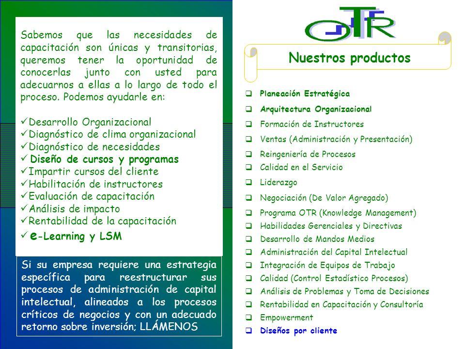 Nuestros productos Planeación Estratégica Arquitectura Organizacional Formación de Instructores Ventas (Administración y Presentación) Reingeniería de