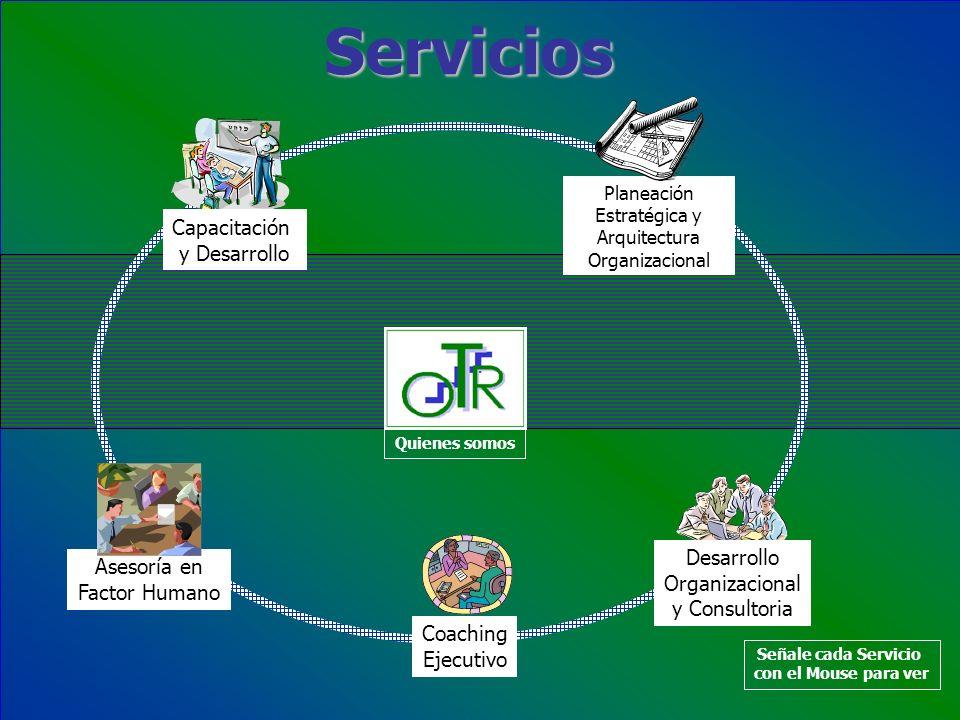 Servicios Capacitación y Desarrollo Planeación Estratégica y Arquitectura Organizacional Desarrollo Organizacional y Consultoria Asesoría en Factor Hu