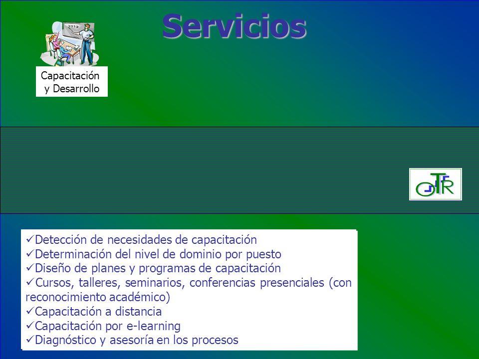 Servicios Capacitación y Desarrollo Detección de necesidades de capacitación Determinación del nivel de dominio por puesto Diseño de planes y programa
