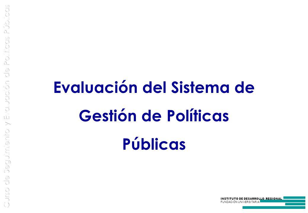 INSTITUTO DE DESARROLLO REGIONAL FUNDACIÓN UNIVERSITARIA Evaluación del Sistema de Gestión de Políticas Públicas