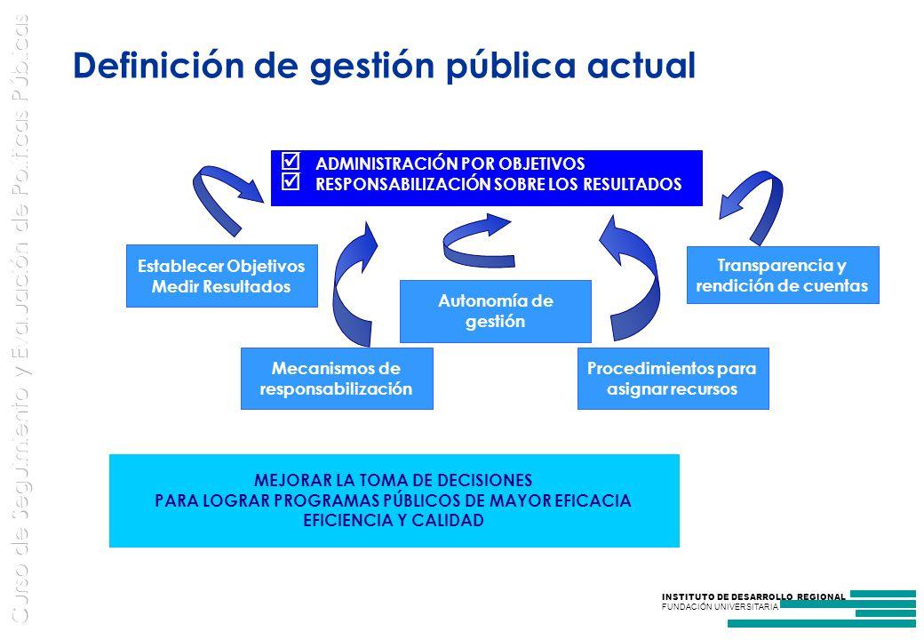 INSTITUTO DE DESARROLLO REGIONAL FUNDACIÓN UNIVERSITARIA Definición de gestión pública actual ADMINISTRACIÓN POR OBJETIVOS RESPONSABILIZACIÓN SOBRE LOS RESULTADOS Mecanismos de responsabilización Autonomía de gestión Procedimientos para asignar recursos Transparencia y rendición de cuentas Establecer Objetivos Medir Resultados MEJORAR LA TOMA DE DECISIONES PARA LOGRAR PROGRAMAS PÚBLICOS DE MAYOR EFICACIA EFICIENCIA Y CALIDAD