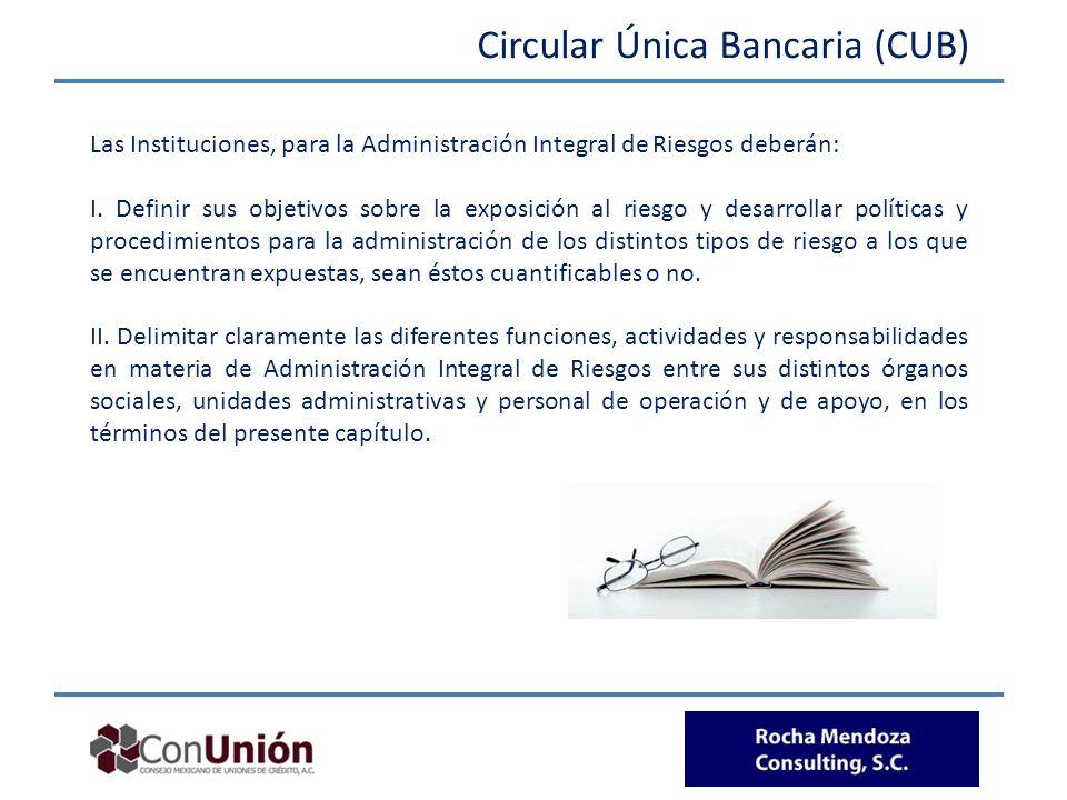 Circular Única Bancaria (CUB) Las Instituciones, para la Administración Integral de Riesgos deberán: I. Definir sus objetivos sobre la exposición al r