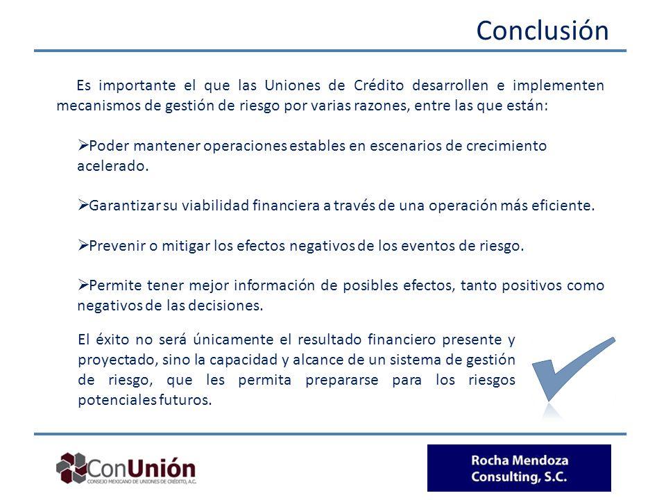 Conclusión Es importante el que las Uniones de Crédito desarrollen e implementen mecanismos de gestión de riesgo por varias razones, entre las que est