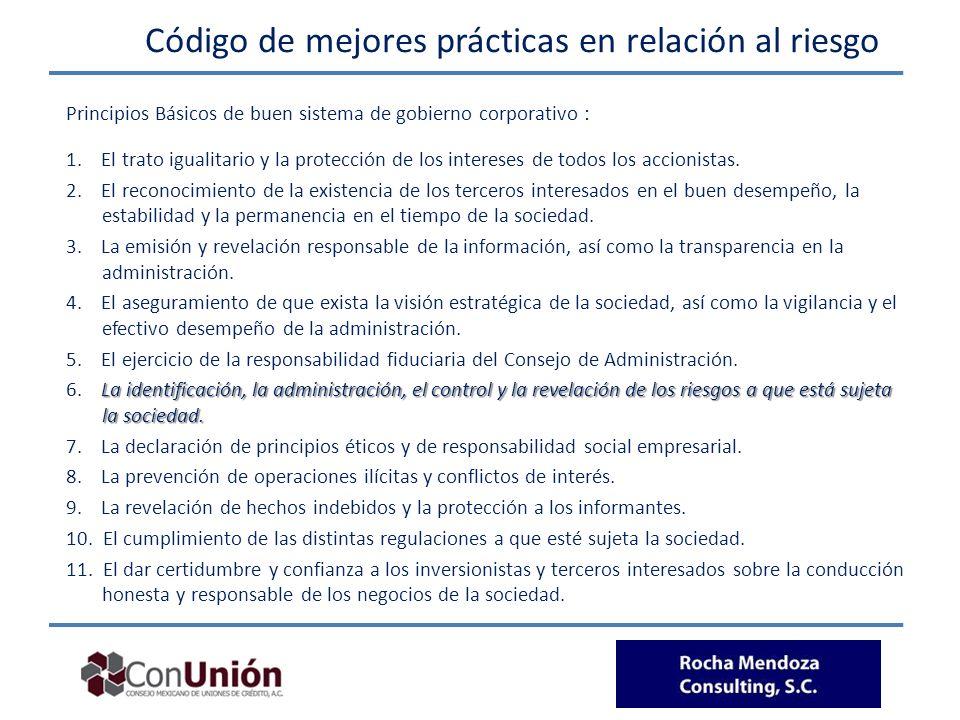 Código de mejores prácticas en relación al riesgo Principios Básicos de buen sistema de gobierno corporativo : 1. El trato igualitario y la protección