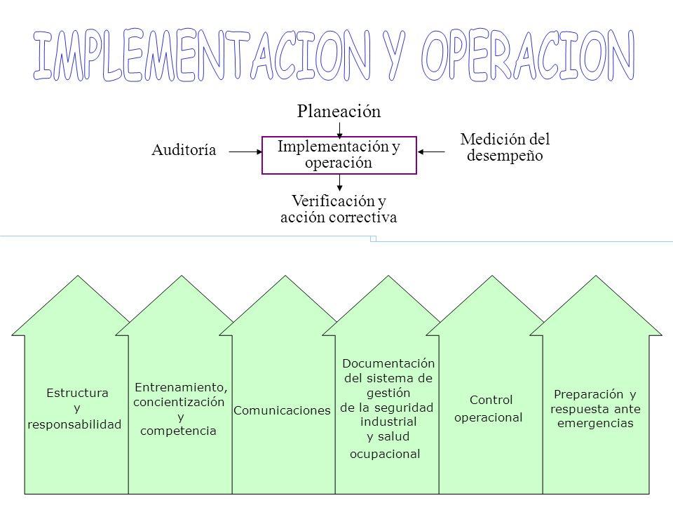 Implementación y operación Medición del desempeño Verificación y acción correctiva Auditoría Planeación Estructura y responsabilidad Entrenamiento, co