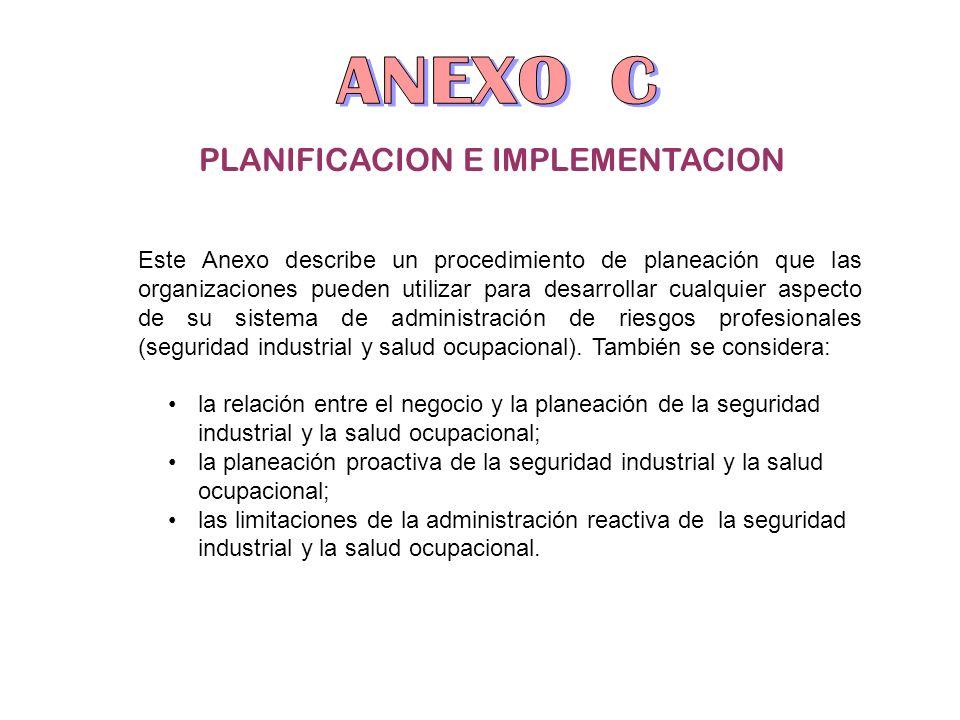 PLANIFICACION E IMPLEMENTACION Este Anexo describe un procedimiento de planeación que las organizaciones pueden utilizar para desarrollar cualquier as