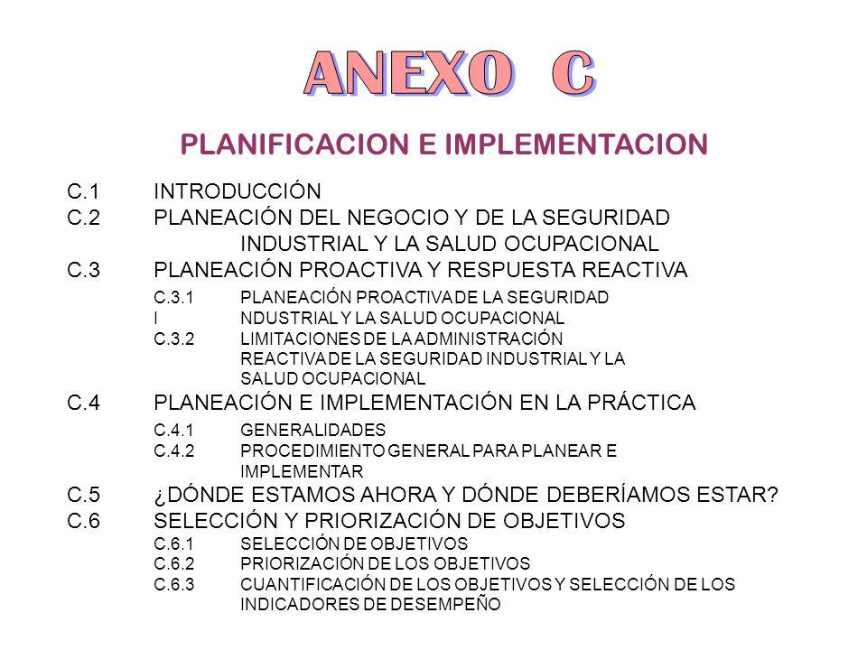 PLANIFICACION E IMPLEMENTACION C.1INTRODUCCIÓN C.2PLANEACIÓN DEL NEGOCIO Y DE LA SEGURIDAD INDUSTRIAL Y LA SALUD OCUPACIONAL C.3PLANEACIÓN PROACTIVA Y