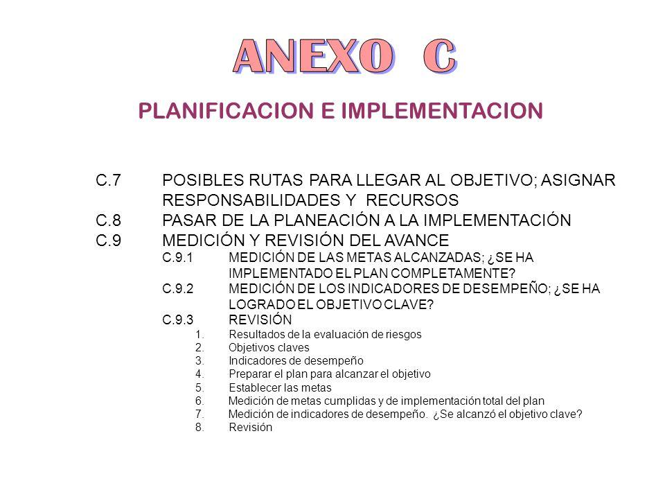 PLANIFICACION E IMPLEMENTACION C.7POSIBLES RUTAS PARA LLEGAR AL OBJETIVO; ASIGNAR RESPONSABILIDADES Y RECURSOS C.8PASAR DE LA PLANEACIÓN A LA IMPLEMEN