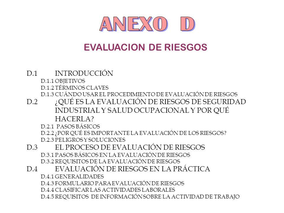EVALUACION DE RIESGOS D.1INTRODUCCIÓN D.1.1OBJETIVOS D.1.2TÉRMINOS CLAVES D.1.3CUÁNDO USAR EL PROCEDIMIENTO DE EVALUACIÓN DE RIESGOS D.2¿QUÉ ES LA EVA