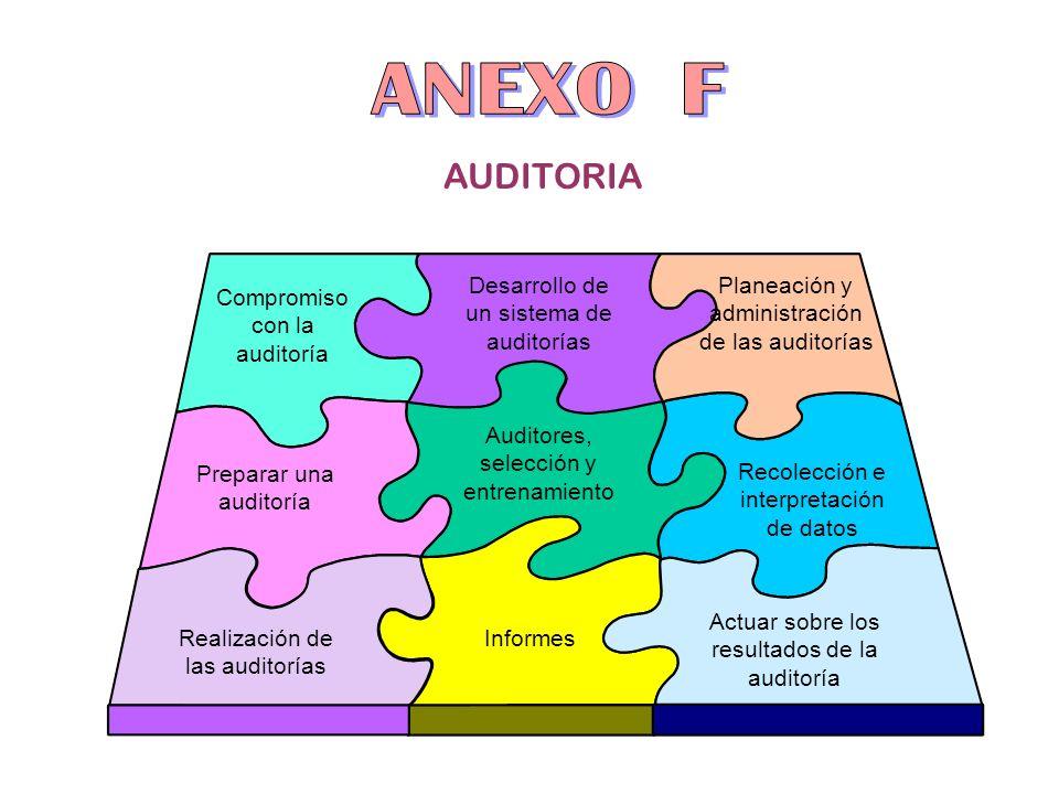 AUDITORIA Compromiso con la auditoría Planeación y administración de las auditorías Desarrollo de un sistema de auditorías Realización de las auditorí