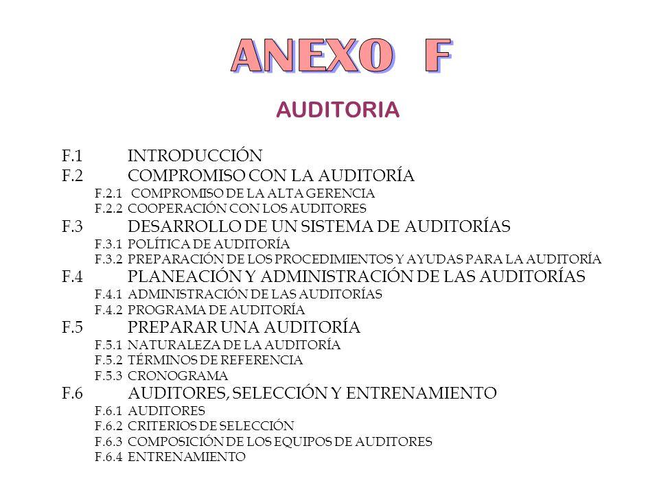 AUDITORIA F.1INTRODUCCIÓN F.2COMPROMISO CON LA AUDITORÍA F.2.1 COMPROMISO DE LA ALTA GERENCIA F.2.2COOPERACIÓN CON LOS AUDITORES F.3DESARROLLO DE UN S