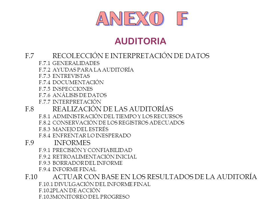 AUDITORIA F.7RECOLECCIÓN E INTERPRETACIÓN DE DATOS F.7.1GENERALIDADES F.7.2AYUDAS PARA LA AUDITORÍA F.7.3ENTREVISTAS F.7.4DOCUMENTACIÓN F.7.5INSPECCIO