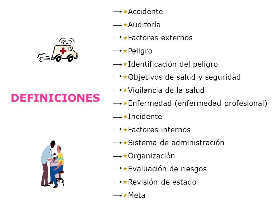 DEFINICIONES Accidente Auditoría Factores externos Peligro Identificación del peligro Objetivos de salud y seguridad Vigilancia de la salud Enfermedad