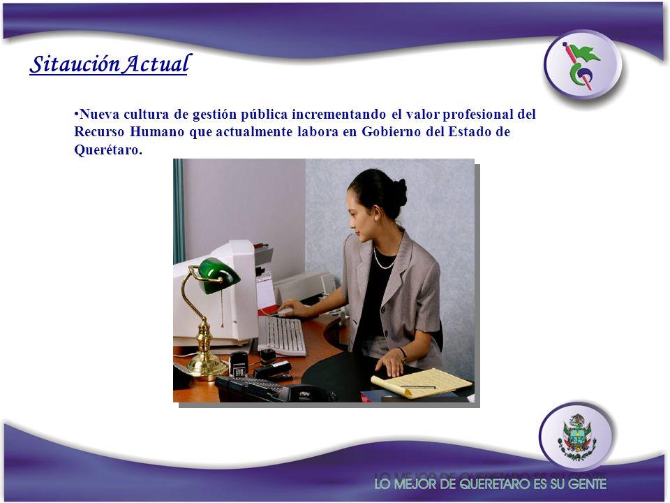 Sitaución Actual Nueva cultura de gestión pública incrementando el valor profesional del Recurso Humano que actualmente labora en Gobierno del Estado