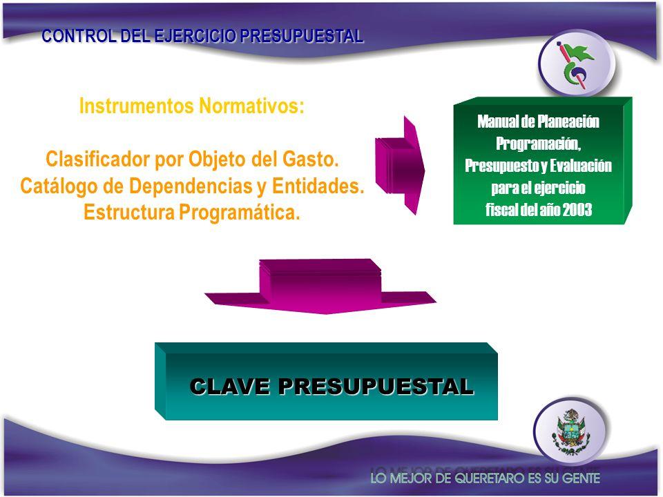 Instrumentos Normativos: Clasificador por Objeto del Gasto. Catálogo de Dependencias y Entidades. Estructura Programática. CONTROL DEL EJERCICIO PRESU