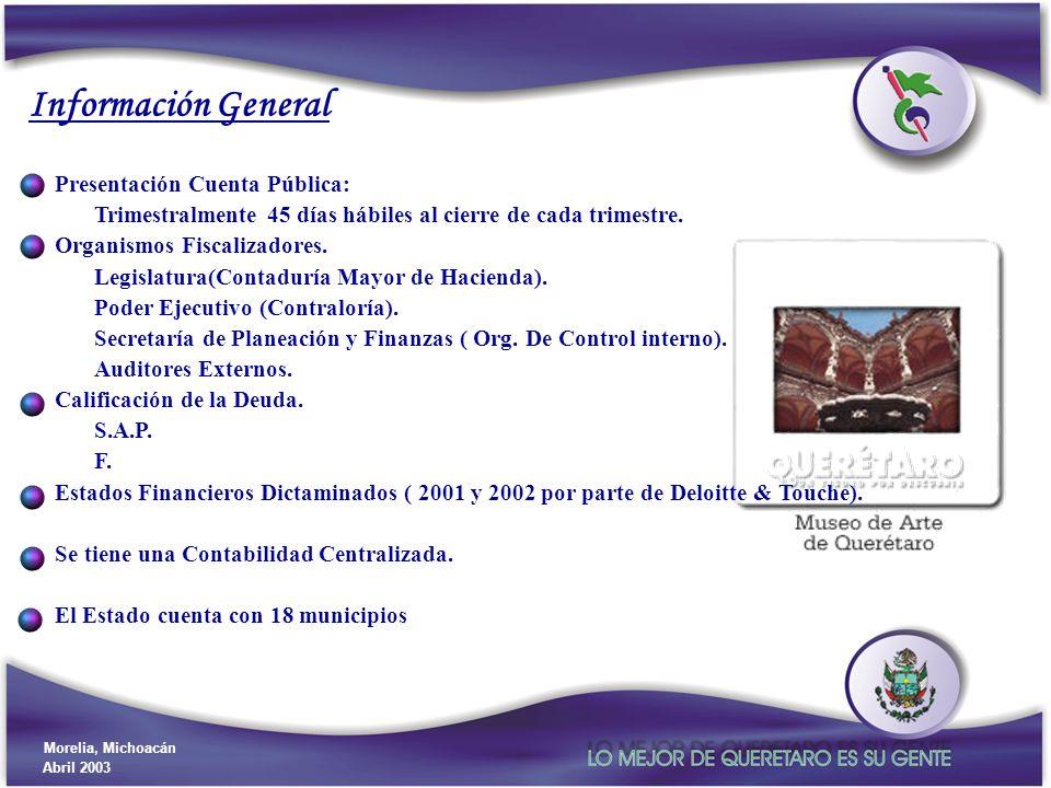 Gobierno del Estado de Querétaro Secretaría de Planeación y Finanzas Morelia, Michoacán Abril 2003 Información General Presentación Cuenta Pública: Tr