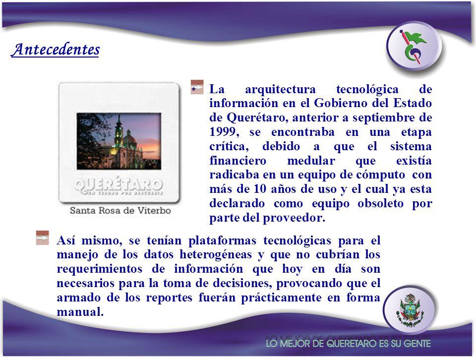 Antecedentes La arquitectura tecnológica de información en el Gobierno del Estado de Querétaro, anterior a septiembre de 1999, se encontraba en una et