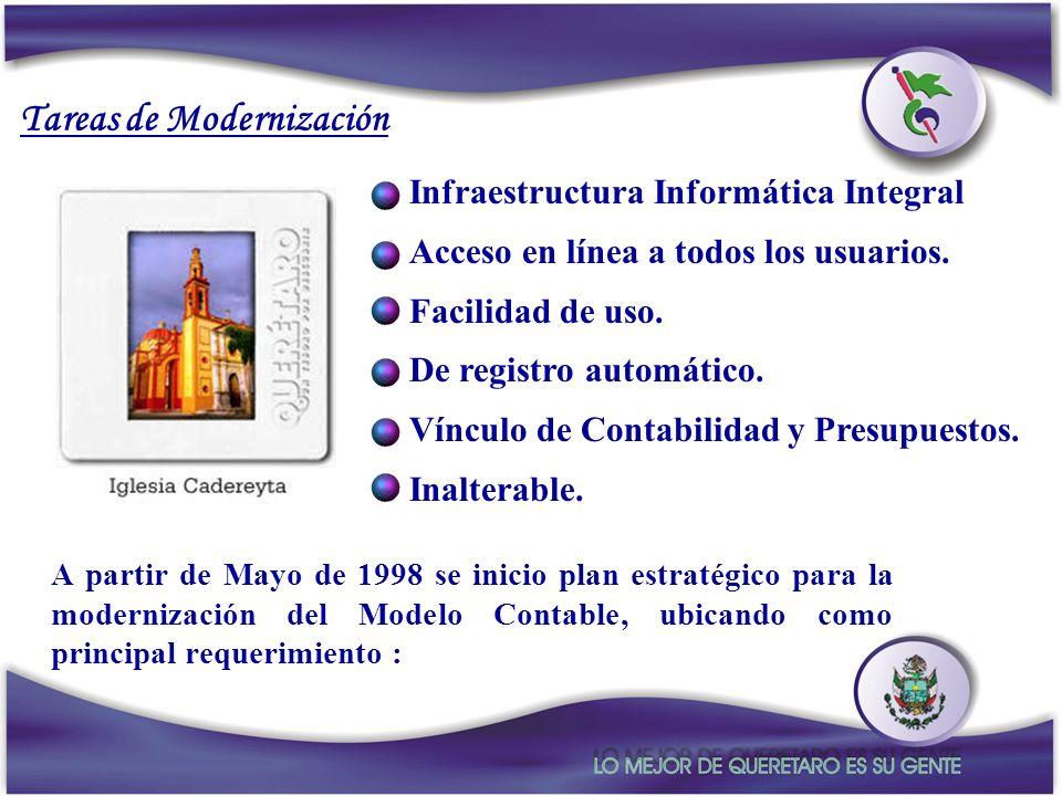 A partir de Mayo de 1998 se inicio plan estratégico para la modernización del Modelo Contable, ubicando como principal requerimiento : Tareas de Moder