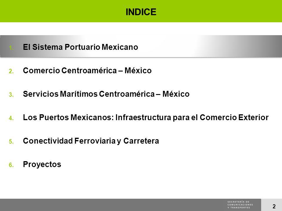 2 INDICE 1. El Sistema Portuario Mexicano 2. Comercio Centroamérica – México 3. Servicios Marítimos Centroamérica – México 4. Los Puertos Mexicanos: I