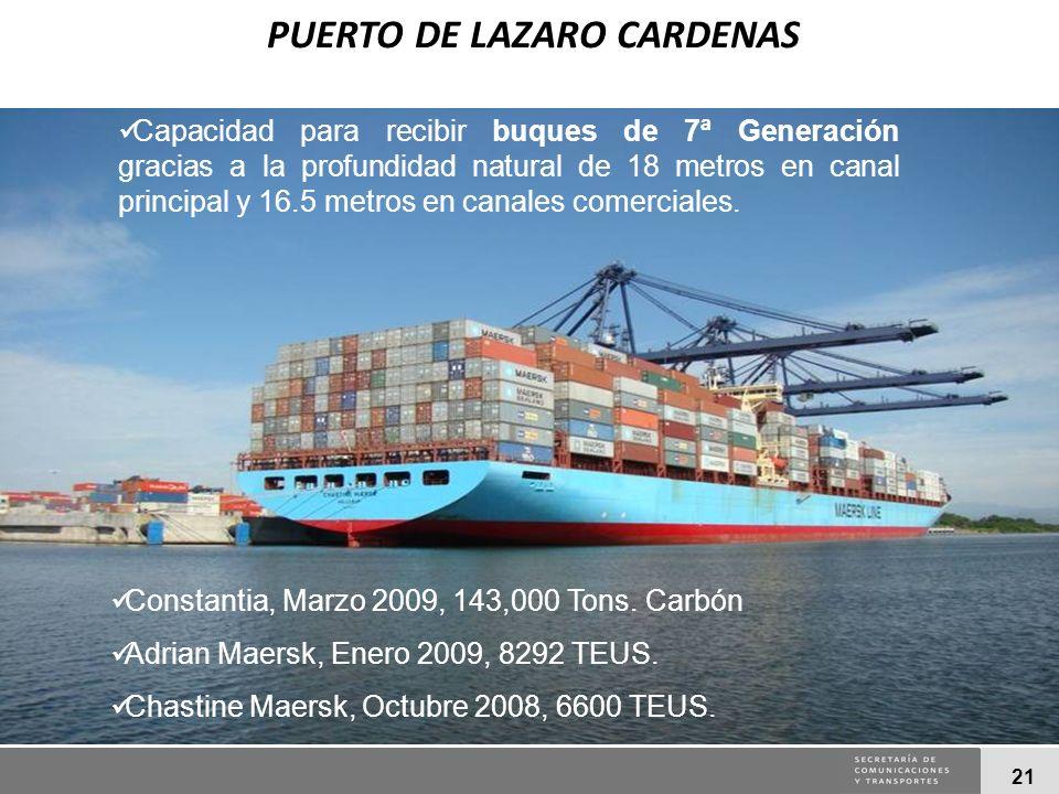21 Constantia, Marzo 2009, 143,000 Tons. Carbón Adrian Maersk, Enero 2009, 8292 TEUS. Chastine Maersk, Octubre 2008, 6600 TEUS. Capacidad para recibir