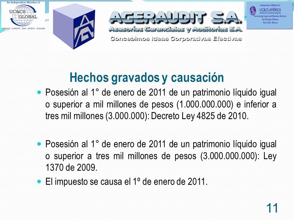 Hechos gravados y causación Posesión al 1° de enero de 2011 de un patrimonio líquido igual o superior a mil millones de pesos (1.000.000.000) e inferi