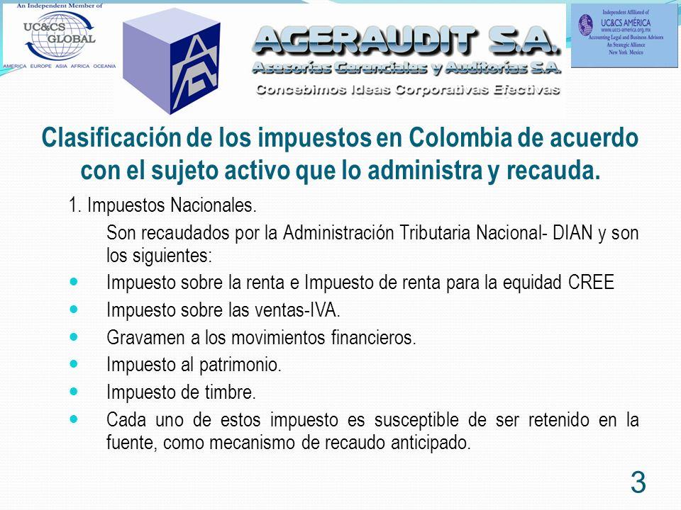 Clasificación de los impuestos en Colombia de acuerdo con el sujeto activo que lo administra y recauda. 1. Impuestos Nacionales. Son recaudados por la