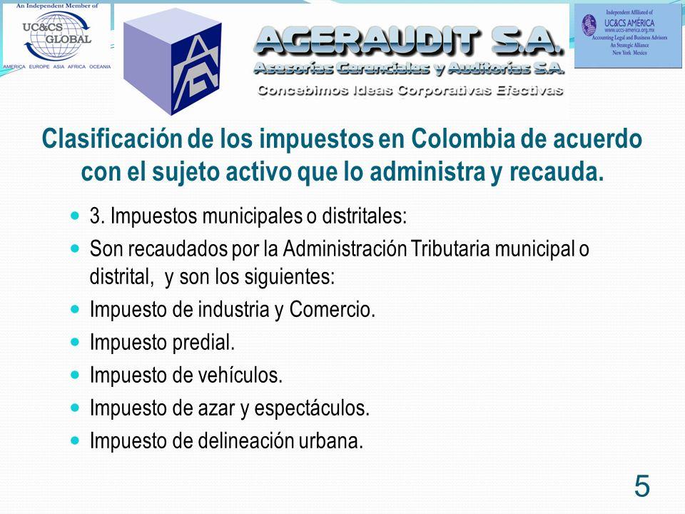 Clasificación de los impuestos en Colombia de acuerdo con el sujeto activo que lo administra y recauda. 3. Impuestos municipales o distritales: Son re