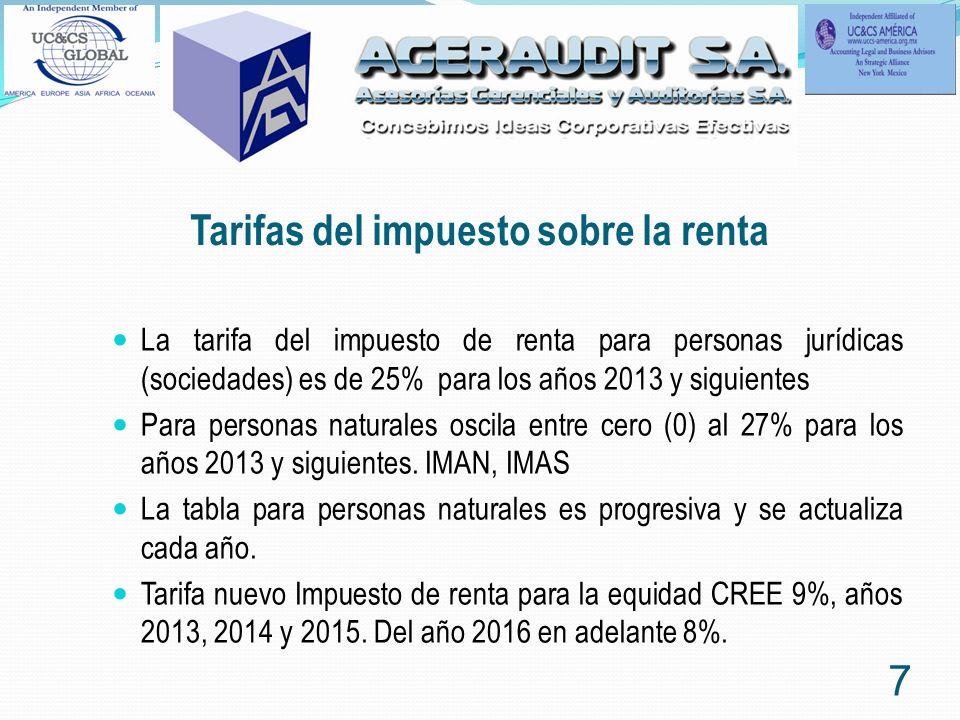 Tarifas del impuesto sobre la renta La tarifa del impuesto de renta para personas jurídicas (sociedades) es de 25% para los años 2013 y siguientes Par