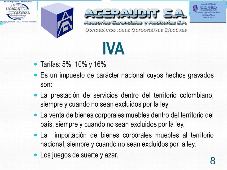 IVA Tarifas: 5%, 10% y 16% Es un impuesto de carácter nacional cuyos hechos gravados son: La prestación de servicios dentro del territorio colombiano, siempre y cuando no sean excluidos por la ley La venta de bienes corporales muebles dentro del territorio del país, siempre y cuando no sean excluidos por la ley.