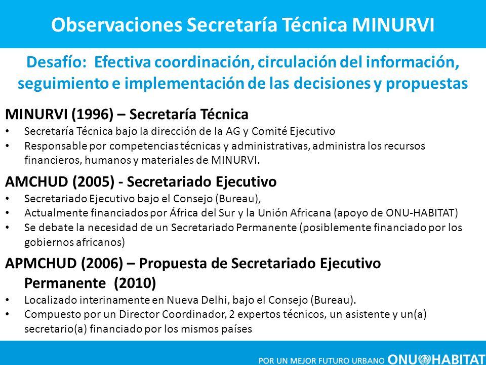 MINURVI (1996) – Secretaría Técnica Secretaría Técnica bajo la dirección de la AG y Comité Ejecutivo Responsable por competencias técnicas y administr