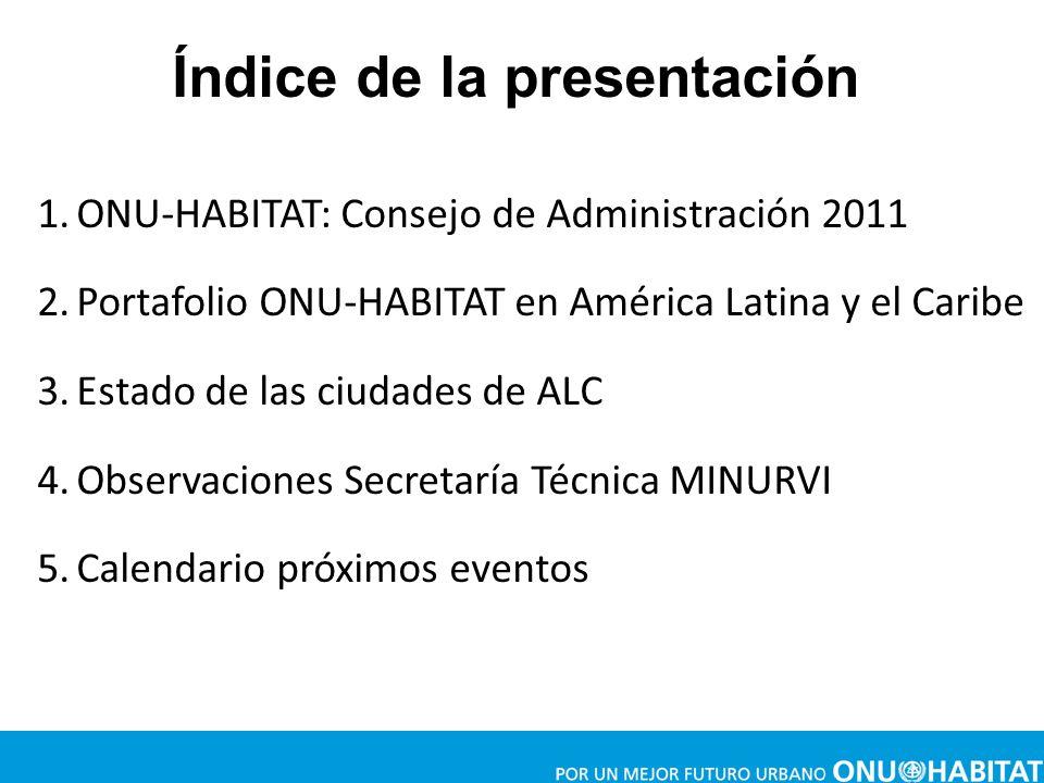 1.ONU-HABITAT: Consejo de Administración 2011 2.Portafolio ONU-HABITAT en América Latina y el Caribe 3.Estado de las ciudades de ALC 4.Observaciones S