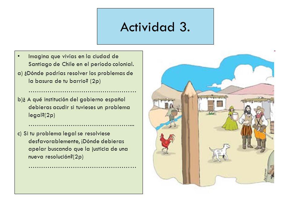 Actividad 3.Imagina que vivías en la ciudad de Santiago de Chile en el período colonial.