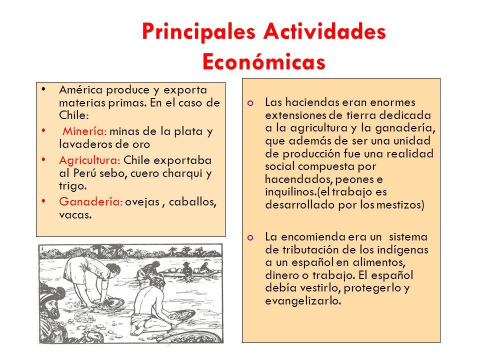 Principales Actividades Económicas América produce y exporta materias primas.