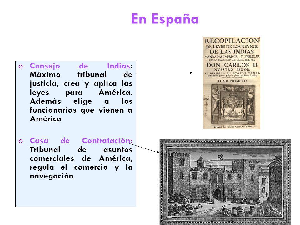En España oConsejo de Indias: Máximo tribunal de justicia, crea y aplica las leyes para América.