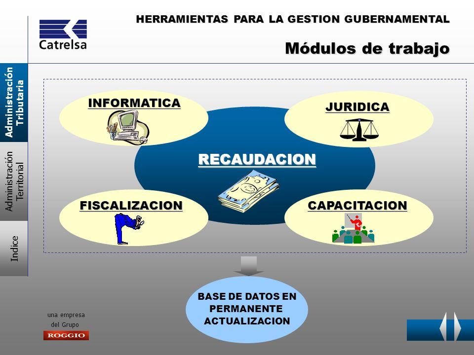 HERRAMIENTAS PARA LA GESTION GUBERNAMENTAL una empresa del Grupo Su función es emitir y cobrar TASAS Y TRIBUTOS ORDINARIOS MULTAS Y AJUSTES DETERMINADOS POR LAS AREAS DE FISCALIZACION Y JUDICIAL Condiciones necesarias para una recaudación eficiente MEDIOS DE PAGO ADECUADOS PADRON DEPURADO Elaboración Depuración Actualización RED DE BANCOS COBRADORES DEBITO AUTOMATICO DEBITO POR TARJETAS DE CREDITO BANCA TELEFONICA SUPERMERCADOS- COMERCIOS INTERNET Módulo Area RECAUDACION