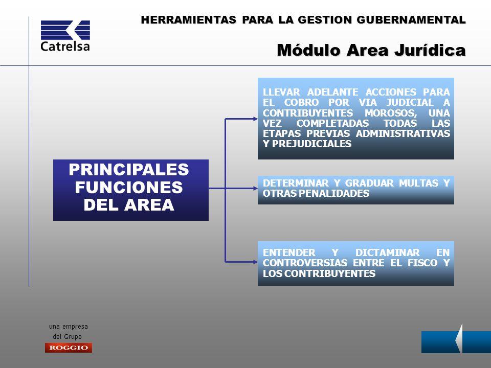 HERRAMIENTAS PARA LA GESTION GUBERNAMENTAL una empresa del Grupo PRINCIPALES FUNCIONES DEL AREA PROCESAMIENTO AGIL Y EFICIENTE DE LOS DATOS SUMINISTRO DE INFORMACION Y REPORTES PARA LA TOMA DE DECISIONES INSTRUMENTACION Y MANTENIMIENTO OPTIMO DEL EQUIPAMIENTO Y LOS PROGRAMAS Una de las características principales de nuestro sistema es que tiene una estructura modular por área y por tipo de impuesto.