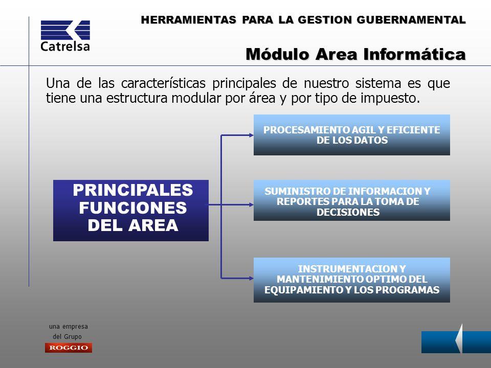 HERRAMIENTAS PARA LA GESTION GUBERNAMENTAL una empresa del Grupo PRINCIPALES FUNCIONES DEL AREA PROCESAMIENTO AGIL Y EFICIENTE DE LOS DATOS SUMINISTRO