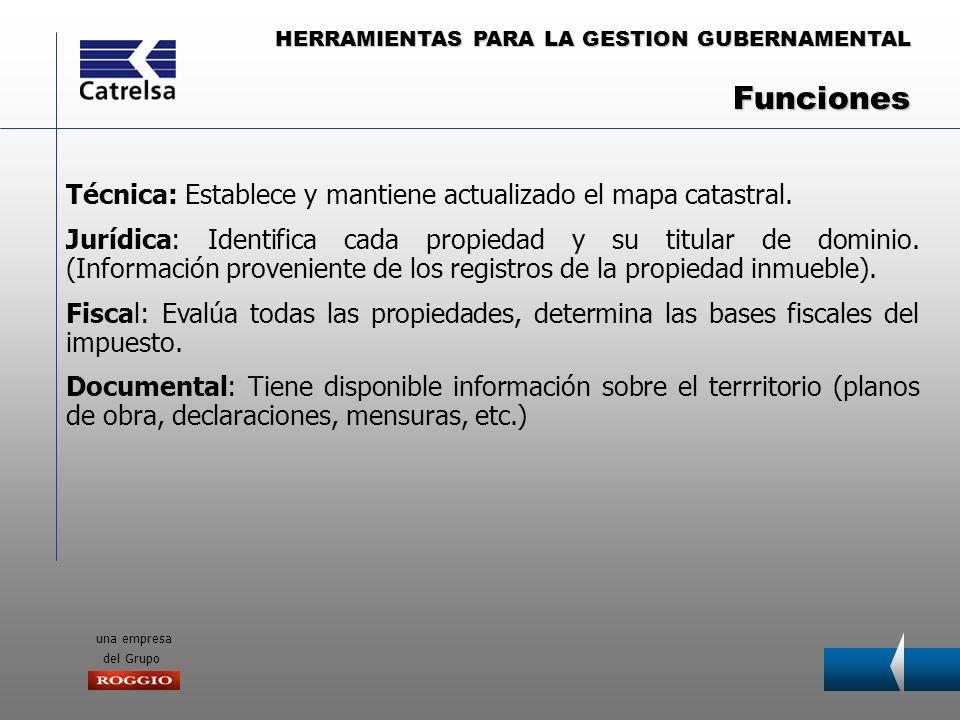 HERRAMIENTAS PARA LA GESTION GUBERNAMENTAL una empresa del Grupo Técnica: Establece y mantiene actualizado el mapa catastral. Jurídica: Identifica cad
