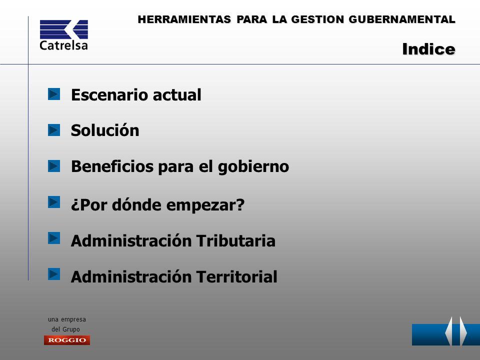 HERRAMIENTAS PARA LA GESTION GUBERNAMENTAL una empresa del Grupo Escenario actual ¿Por dónde empezar? Solución Administración Tributaria Beneficios pa