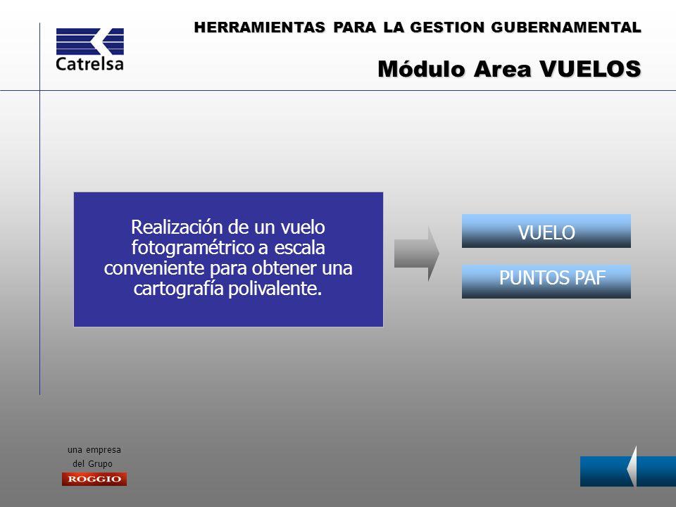 HERRAMIENTAS PARA LA GESTION GUBERNAMENTAL una empresa del Grupo VUELO PUNTOS PAF Realización de un vuelo fotogramétrico a escala conveniente para obt