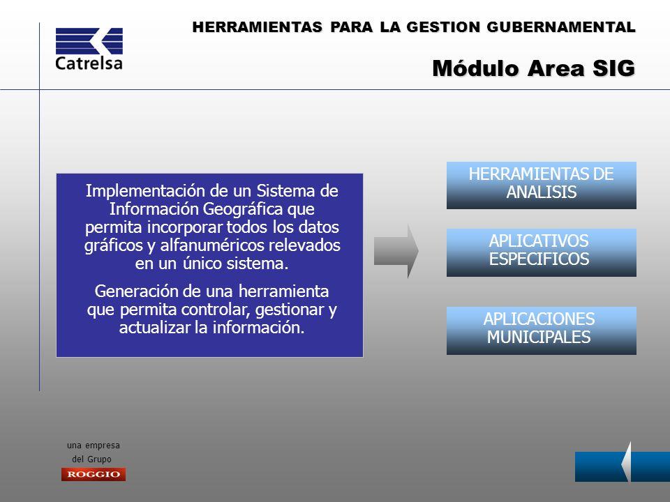 HERRAMIENTAS PARA LA GESTION GUBERNAMENTAL una empresa del Grupo HERRAMIENTAS DE ANALISIS APLICATIVOS ESPECIFICOS APLICACIONES MUNICIPALES Implementac