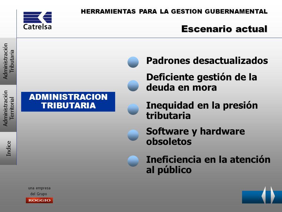 HERRAMIENTAS PARA LA GESTION GUBERNAMENTAL una empresa del Grupo ADMINISTRACION TRIBUTARIA Padrones desactualizados Deficiente gestión de la deuda en