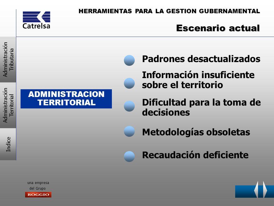 HERRAMIENTAS PARA LA GESTION GUBERNAMENTAL una empresa del Grupo ADMINISTRACION TERRITORIAL Padrones desactualizados Información insuficiente sobre el