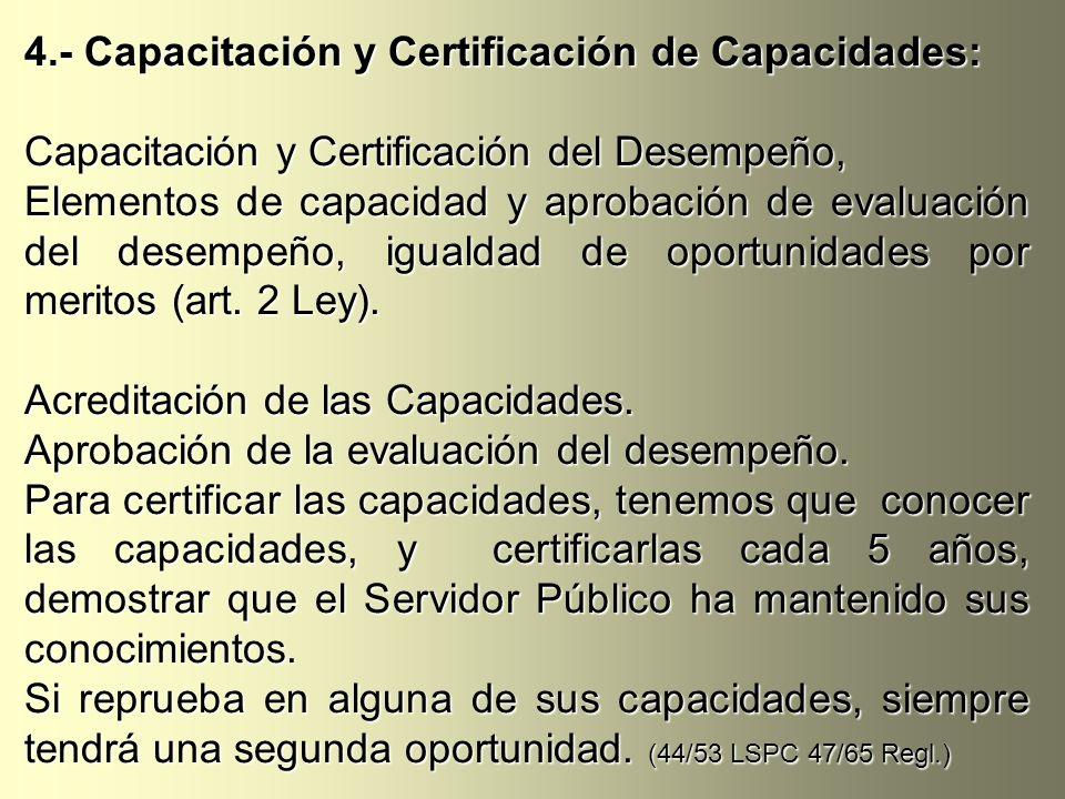 4.- Capacitación y Certificación de Capacidades: Capacitación y Certificación del Desempeño, Elementos de capacidad y aprobación de evaluación del des