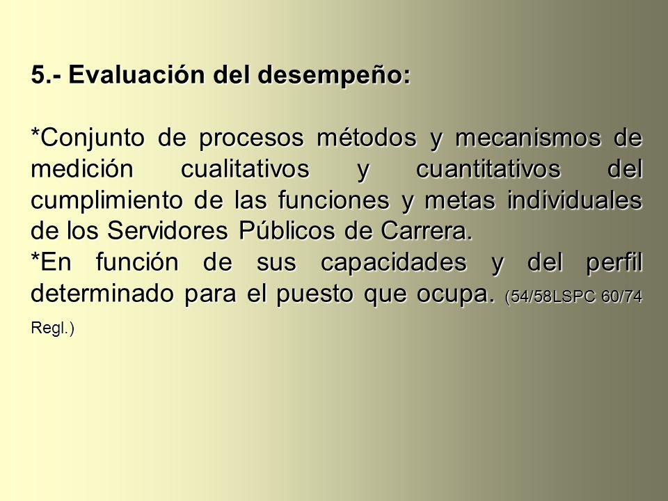 5.- Evaluación del desempeño: *Conjunto de procesos métodos y mecanismos de medición cualitativos y cuantitativos del cumplimiento de las funciones y