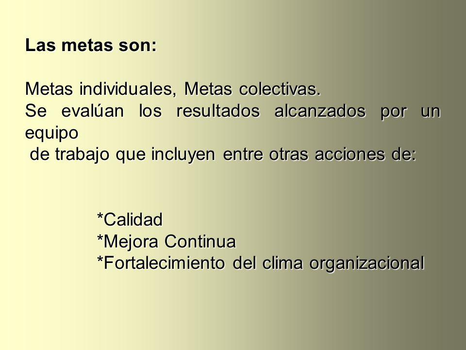 Las metas son: Metas individuales, Metas colectivas. Se evalúan los resultados alcanzados por un equipo de trabajo que incluyen entre otras acciones d