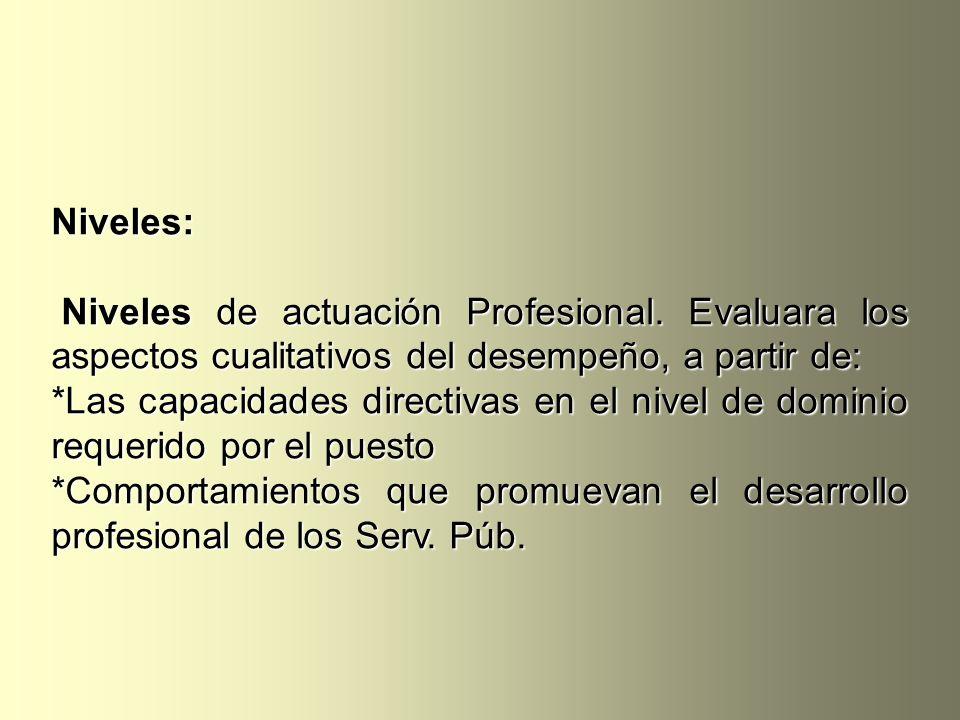 Niveles: Niveles de actuación Profesional. Evaluara los aspectos cualitativos del desempeño, a partir de: Niveles de actuación Profesional. Evaluara l