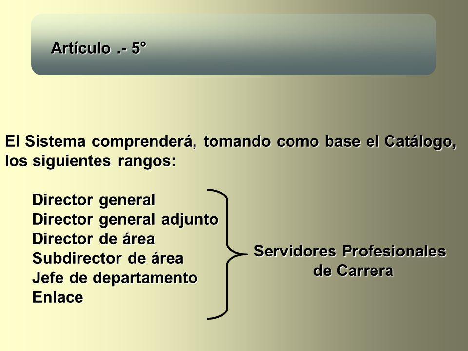 El Sistema comprenderá, tomando como base el Catálogo, los siguientes rangos: Director general Director general adjunto Director de área Subdirector de área Jefe de departamento Enlace Artículo.- 5° Servidores Profesionales de Carrera